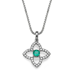 0.6 TCW 18K White Gold Emerald Flower Pendant
