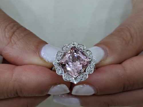 3.25 Carat 14K White Gold Morganite & Diamonds