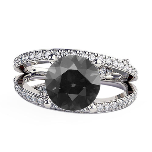 1.5 Carat 14K White Gold Black Diamond