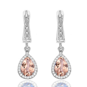2 Carat 14K White Gold Morganite & Diamonds