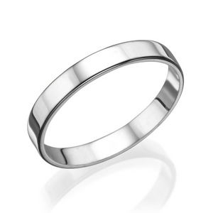 3MM 14K White Gold Simple Shiny Men Wedding Band