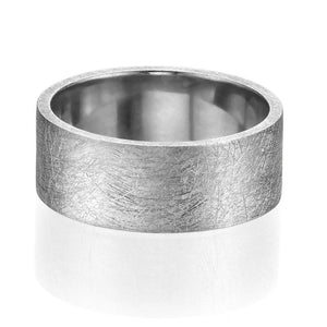 8.7MM 14K White Gold Carved Surface Wedding Band