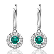 "Load image into Gallery viewer, 0.8 Carat 14K White Gold Emerald & Diamonds ""Carole"" Earrings"