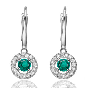"0.8 Carat 14K White Gold Emerald & Diamonds ""Carole"" Earrings"