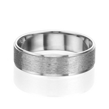 Load image into Gallery viewer, 6MM 14K White Gold Brushed Swirl Finish Men Wedding Band