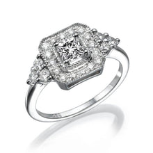 "Load image into Gallery viewer, 0.7 Carat 14K Rose Gold Moissanite & Diamonds ""Ciara"" Engagement Ring"