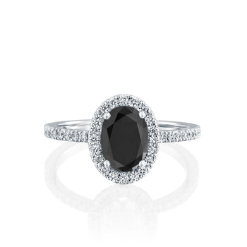 2.5 Carat 14K White Gold Black Diamond