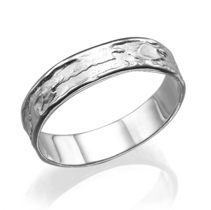 5.2MM 14K White Gold Sand Pattern Wedding Band