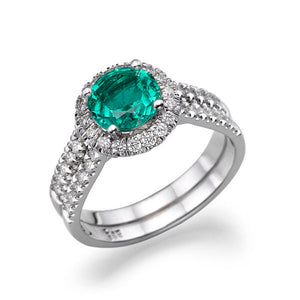 "1.4 Carat 14K White Gold Emerald & Diamonds ""Deborah"" Engagement Ring"