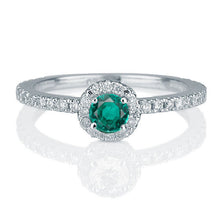 "Load image into Gallery viewer, 0.25 Carat 14K White Gold Emerald Halo ""Ellen"" Engagement Ring"
