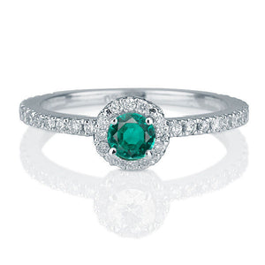 "0.25 Carat 14K White Gold Emerald Halo ""Ellen"" Engagement Ring"