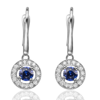 0.6 Carat 14K White Gold Blue Sapphire & Diamonds