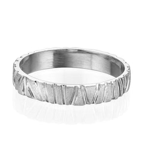 4MM 14K White Gold Contemporary Designer Men Wedding Band