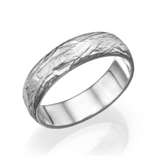 Load image into Gallery viewer, 14K White Gold Rounded Designer Men Wedding Band