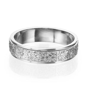 14K White Gold Vintage Beveled Edges Men Wedding Band