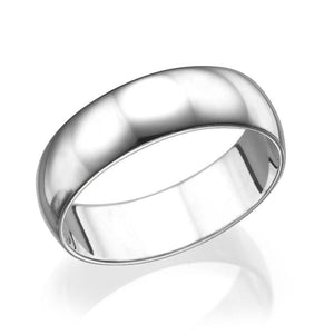 6MM 14K White Gold Classic Men Wedding Band
