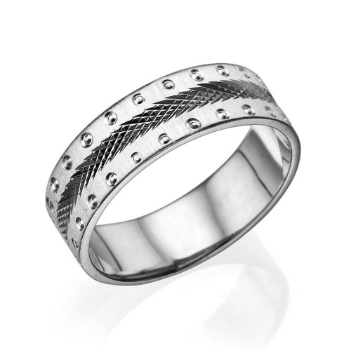 6MM 14K White Gold Screw Style Edges Men Wedding Band