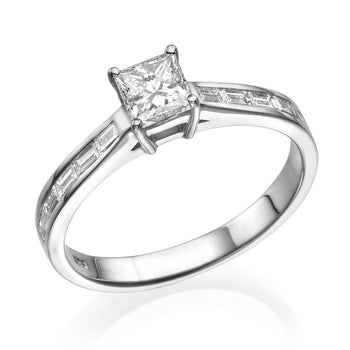 2 Carat 14K White Gold Moissanite & Diamonds