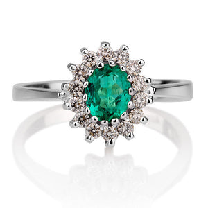 "1.28 TCW 14K White Gold Emerald ""Yvette"" Engagement Ring"
