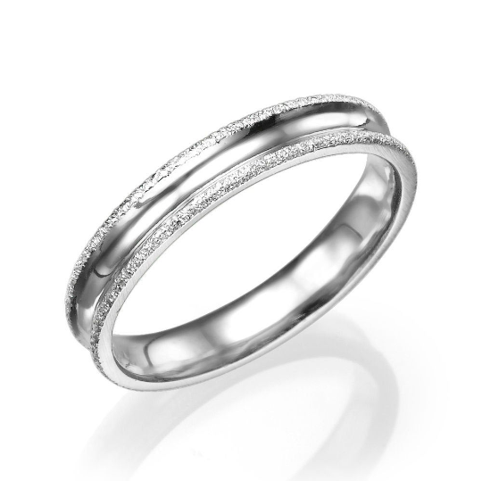 4MM 14K White Gold Simple Men Wedding Band
