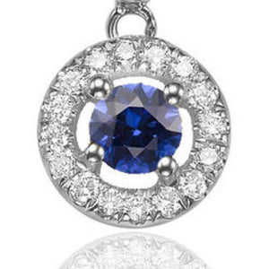 "0.6 Carat 14K White Gold Blue Sapphire & Diamonds ""Carole"" Earrings"