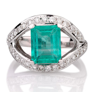 "2.5 Carat 14K White Gold Emerald & Diamonds ""Vera"" Engagement Ring"