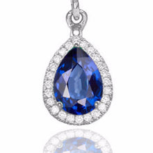 "Load image into Gallery viewer, 2 Carat 14K Yellow Gold Blue Sapphire & Diamonds ""Francie"" Earrings"