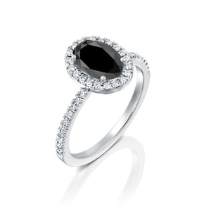 "2.5 Carat 14K White Gold Black Diamond ""Mika"" Engagement Ring"