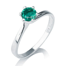 "Load image into Gallery viewer, 0.30 Carat 14K White Gold Emerald ""Cheryl"" Engagement Ring - Diamonds Mine"