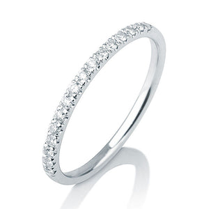 "0.20 TCW 14K White Gold Diamonds ""Amy"" Wedding Band - Diamonds Mine"
