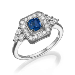 "0.84 TCW 14K White Gold Bluse Sapphire ""Danna"" Engagement Ring - Diamonds Mine"