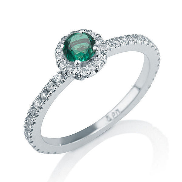 0.25 Carat 14K White Gold Emerald Halo