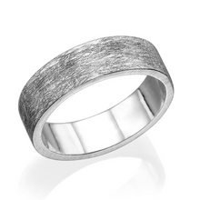 Load image into Gallery viewer, 6.6MM 14K White Gold Scratched Design Men Wedding Band