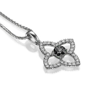 1.25 TCW 14K White Gold Black Diamond Flower Pendant