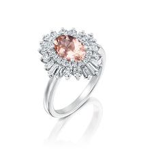 "Load image into Gallery viewer, 1.75 Carat 14K Yellow Gold Oval Morganite & Diamonds ""Gatsby"" Engagement Ring"