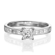 "Load image into Gallery viewer, 2 Carat 14K White Gold Moissanite & Diamonds ""Katie"" Engagement Ring"