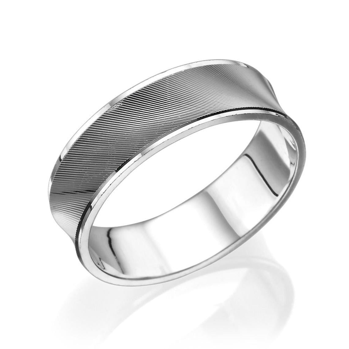 6MM 14K White Gold Concave Diamond Cut Men Wedding Band