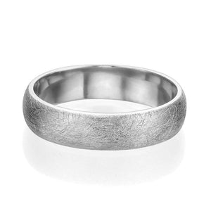 5MM 14K White Gold Brushed Finish Men Wedding Band