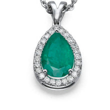 "Load image into Gallery viewer, 2.25 TCW 14K White Gold Emerald ""Tamara"" Pendant 