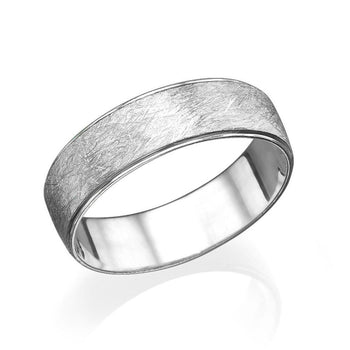 5.7MM 14K White Gold Beveled Brushed Men Wedding Band