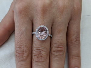 "3.5 Carat 14K White Gold Morganite & Diamonds ""Mika"" Engagement Ring"