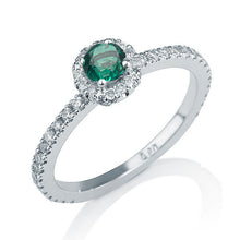 "Load image into Gallery viewer, 0.25 Carat 14K Yellow Gold Emerald Halo ""Ellen"" Engagement Ring"