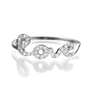 0.11 TCW 14K White Gold Diamond Love Ring
