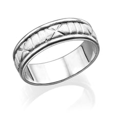 Load image into Gallery viewer, 6.5MM 14K White Gold Roman Numerals Men Wedding Band