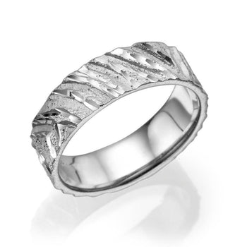 6MM 14K White Gold Designer Pattern Wedding Band