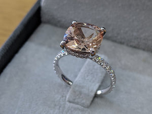"3.5 Carat 14K White Gold Morganite & Diamonds ""Tia"" Engagement Ring"