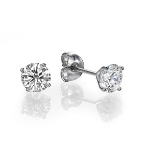 "1 Carat 14K White Gold Diamond ""Una"" Earrings"