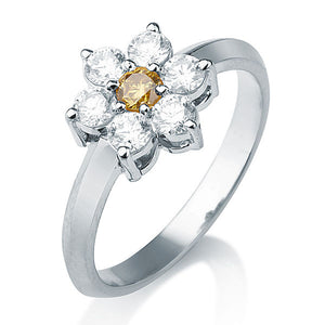 "0.49 TCW 14K White Gold Diamond Flower ""Nora"" Engagement Ring"
