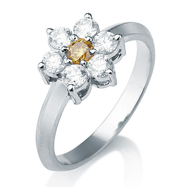 0.49 TCW 14K White Gold Diamond Flower