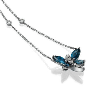 0.6 Carat 14K White Gold Blue Sapphire Dragonfly Pendant